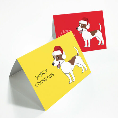 "Pack of 2 /""Yappy Christmas/"" Jack Russell Christmas Cards-Blank Inside A6 Size"