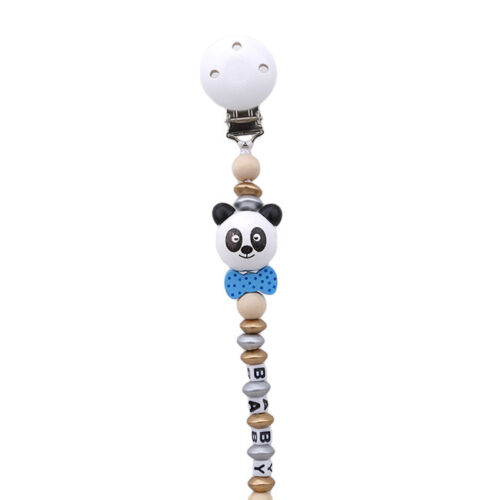 Baby Panda Hand Dummy Pacifier Soother Nipple Leash Strap Chain Clip Holder LH