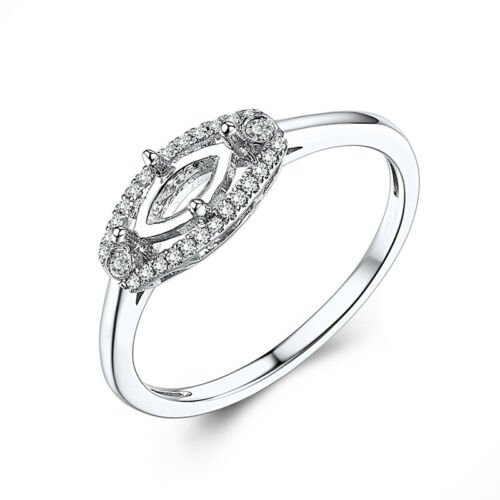 Details about  /Sterling Silver Round Full Real Diamonds Wedding Semi Mount Marquise 7x3mm Ring