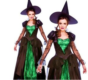 bbe9a0de26e Details about Ladies EMERALD WITCH QUEEN Sorceress Halloween Fancy Dress  Costume UK Sizes 6-28