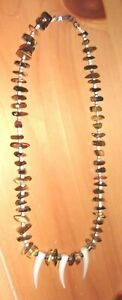 VINTAGE-40s-50s-TIGER-EYE-HEISHI-BEAD-MOP-CLAW-SILVER-NECKLACE-NAVAJO-NM-ESTATE