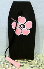 """BLACK w/ PINK Flower SURFBOARD BOOGIE BOARD fits 18"""" AMERICAN GIRL Doll Clothes"""