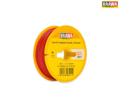 + NUOVO BRAWA 3211 Cavo digitale 0,25 mm² 25 M BOBINA Rosso