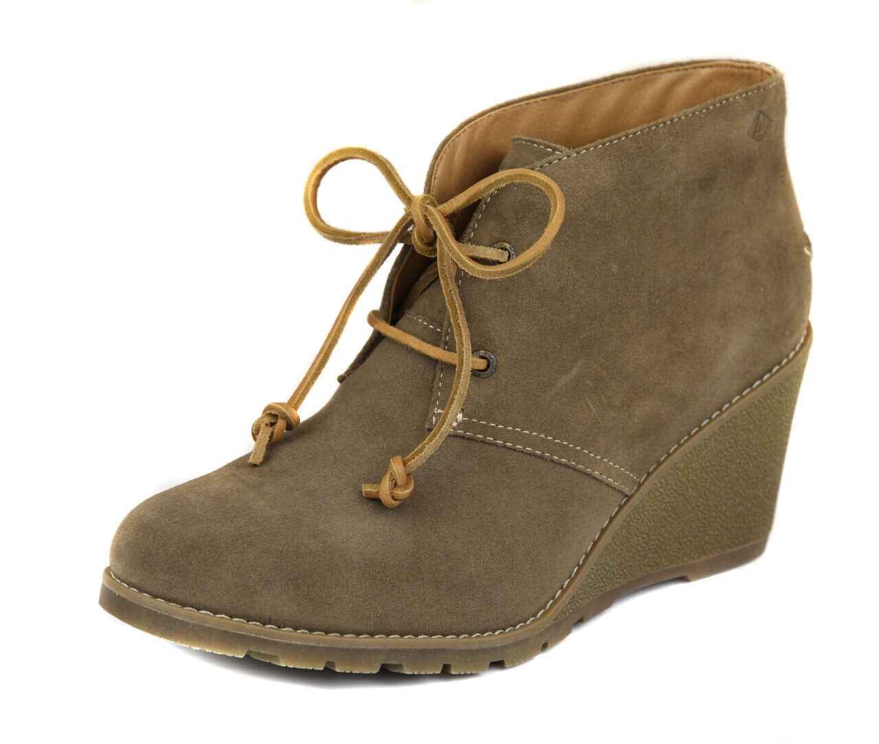 Sperry Women's Taupe Stella Prow Suede Wedge Bootie shoes Ret  New