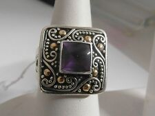 72J Vintage Silver Ring with 18CT Gold and 2CT Amethysts Size Q