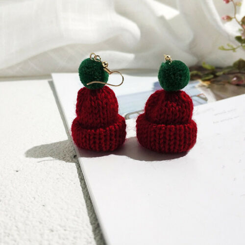 1 Pair Lovely Christmas Hat Drop Earrings Knitted Fluffy Ball Fashion Jewelry f