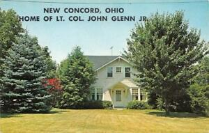 NEW-CONCORD-OH-Ohio-HOME-of-ASTRONAUT-LT-COL-JOHN-GLENN-JR-Chrome-Postcard
