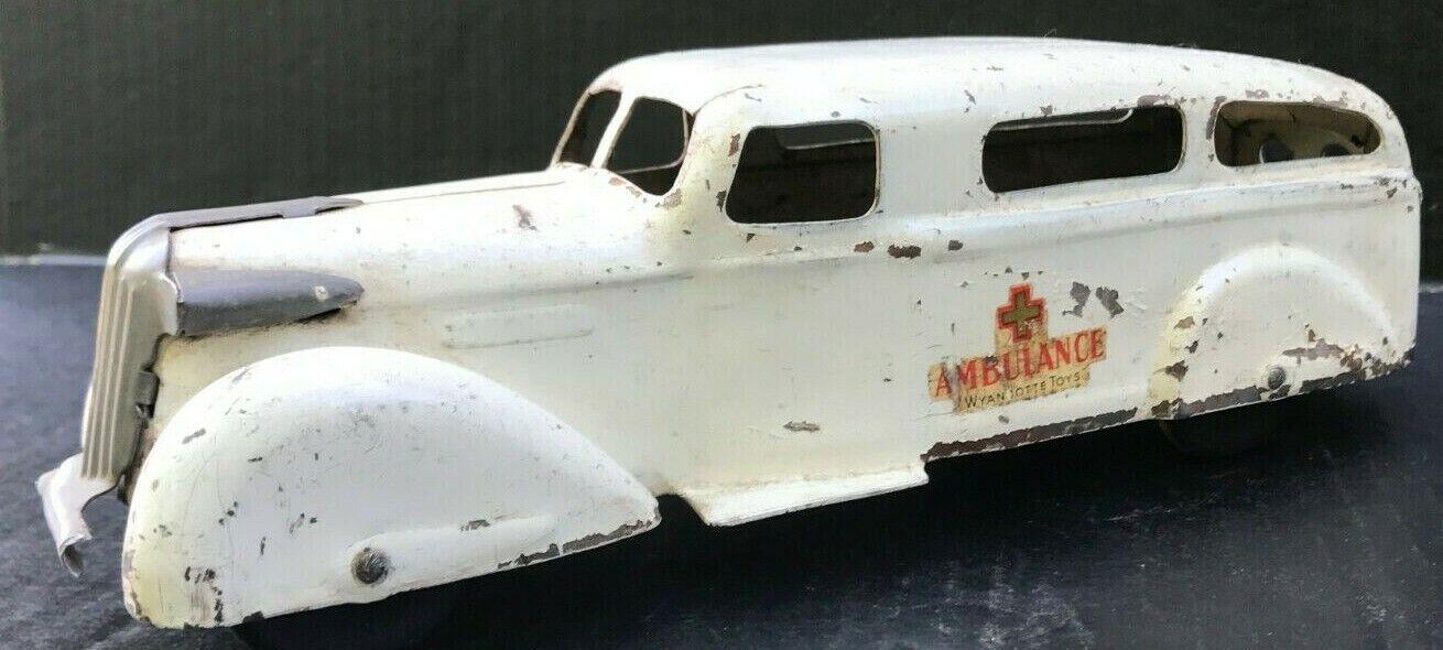 Sällsynta All Original 1930's Wyandotte Pressed Steel Ambulance w  trä Wklackar