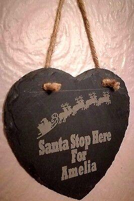 Personalizzata Babbo Natale Stop Qui Slate Cuore Design (1)-mostra Il Titolo Originale