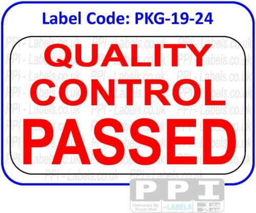 QUALITY CONTROL PASSED Red Packaging Labels Stickers On Sheets Testing PKG-19-24