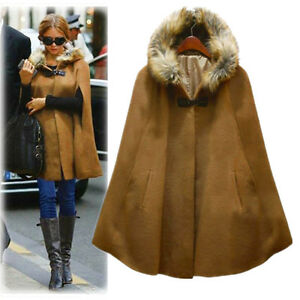 womens-big-fur-collar-cape-shawl-Cloak-wool-jacket-coat-trench-Poncho