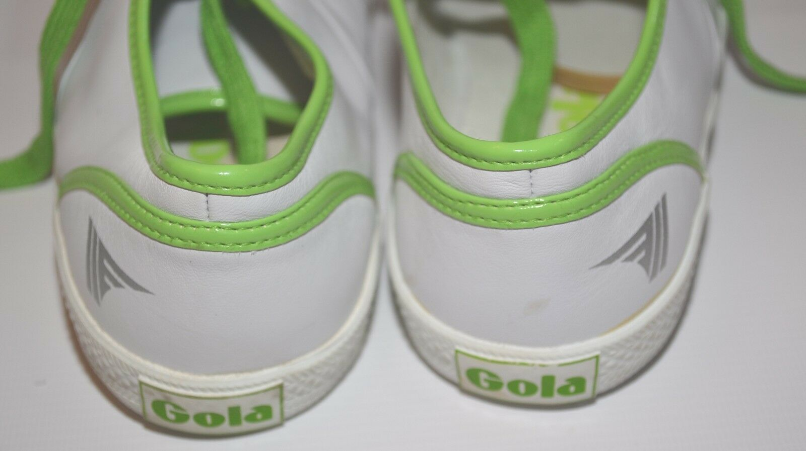 WHITE LEATHER / GREEN LACE-UP GOLA UK SNEAKER TRAINER TENNIS SHOE UK GOLA 4 US 6 EURO 37 6aa5c7