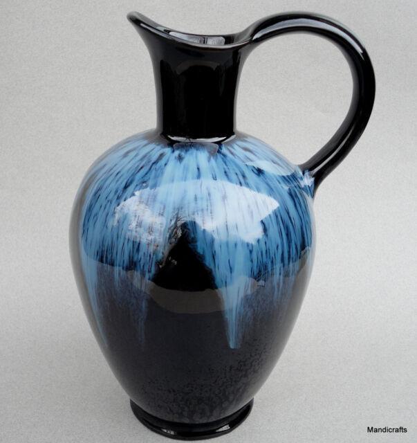 Huronia Pottery Canada Ewer Jug Large 10in Vase Blue Reflow Glaze 1960s 70s Vtg