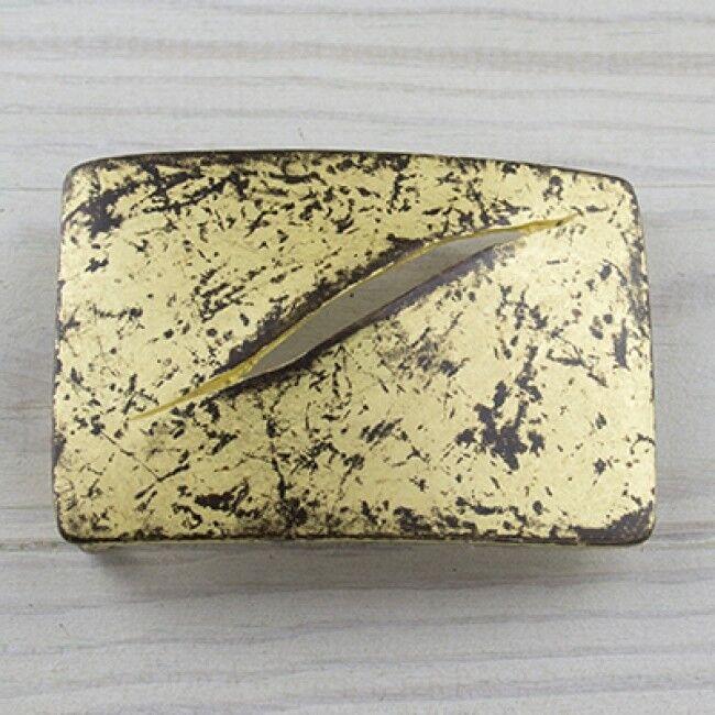 Riss Destroyed Schlitz Gürtelschnalle Gold Hippie Wechselschließe GS5402