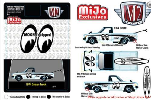M2 Machines 1974 Datsun 620 Mooneyes Truck with Surfboard MiJo Pre Order