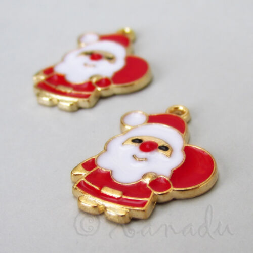 Christmas Santa Claus Charms 23mm Gold Plated Pendants C2794-2 5 Or 10PCs