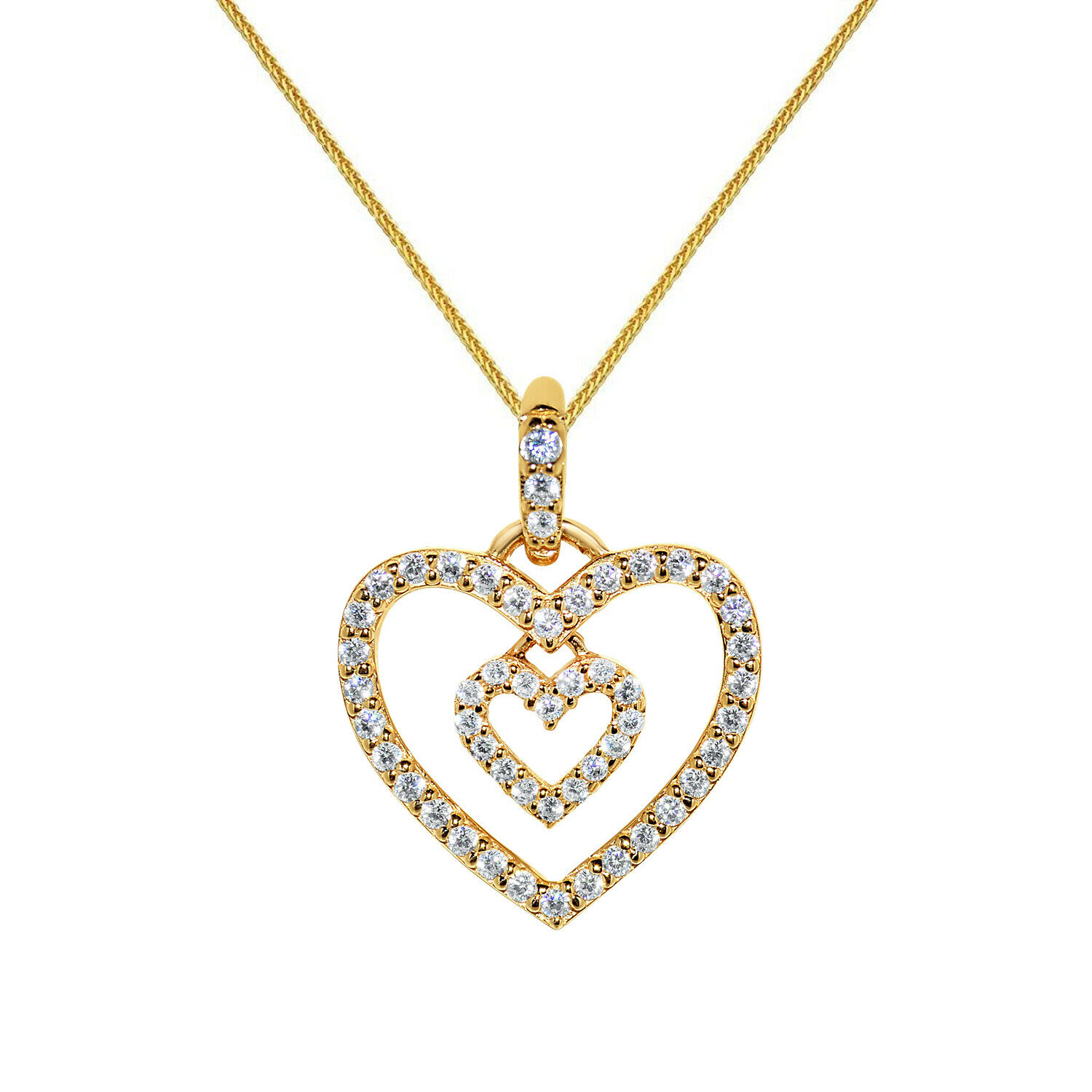 14k Yellow gold Cubic Zirconia Double Heart Pendant with gold Wheat Chain