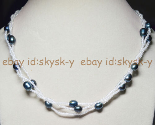 """Natural 9-10mm Black Tahitian Pearl Necklace Hot Long Necktie Necklaces 60/"""" AAA"""