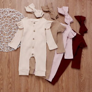 Toddler-Baby-Girls-Clothes-Knitted-Romper-Jumpsuit-Bodysuit-Headband-Outfits-Set
