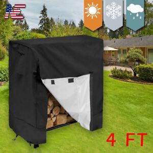 4ft Outdoor Waterproof Firewood Rack Log Full Cover Dust Protector Home Garden