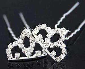 Appris Couronne Strass Cristal Cheveux Pins Clips Prom Mariage Demoiselles D'honneur-afficher Le Titre D'origine