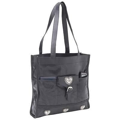 New Black Leather Shopping Tote w/ Heart Shoulder Bag Handbag Purse Beach Travel