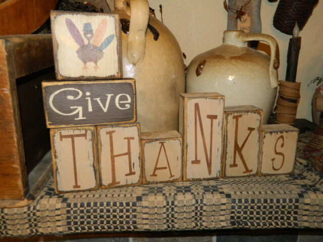 PRIMITIVE BLOCK SIGN~~GIVE THANKS~~TURKEY~~HARVEST~~FALL~~
