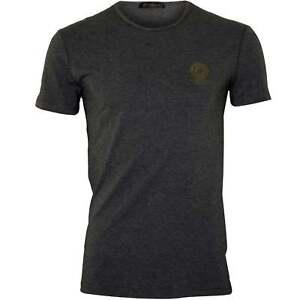Versace-Iconic-Crew-Neck-Stretch-Cotton-Men-039-s-T-Shirt-Grey-Melange