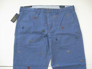 Polo Ralph Lauren Para Hombres Pantalones Chino Rectos Bordado Nautica Fit 38x32 Ebay