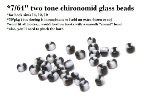 """chironomid fly tying beads two tone black /& white 7//64/"""" 50//pkg"""