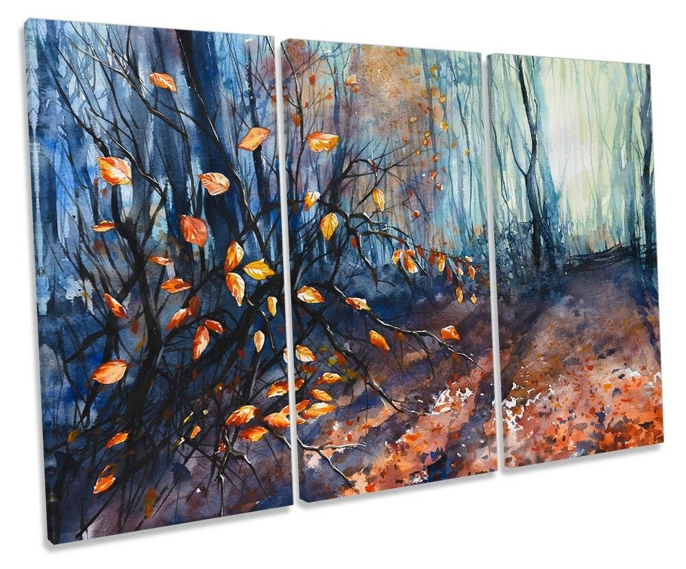 Autumn Forest Orange braun TREBLE CANVAS WALL ARTWORK Print Art
