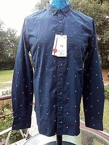 0d34e263d9 DENIM   FLOWER Ricky Singh Men s Shirt M Medium 35 36 Navy Blue ...