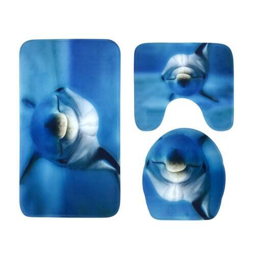 3pcs Arts Printed Non Slip Floor Rugs Mat Carpet Bathroom Bath Toilet Mats Decor