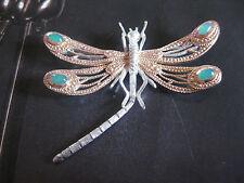 Brosche Libelle Silber 925 mit Chrysoprasen
