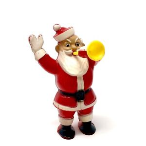 Vintage-Rosbro-Christmas-Santa-Claus-Blowing-Horn-Plastic-Candy-Container-Figure