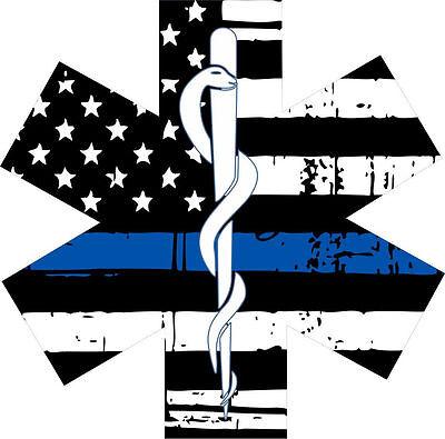 Thin Blue Line Tattered Flag Various sizes Free Ship Spartan Head l