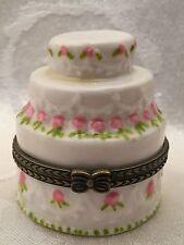 "Wedding Birthday Cake Trinket Box Layer White Pink Roses Flowers Ceramic 2"""