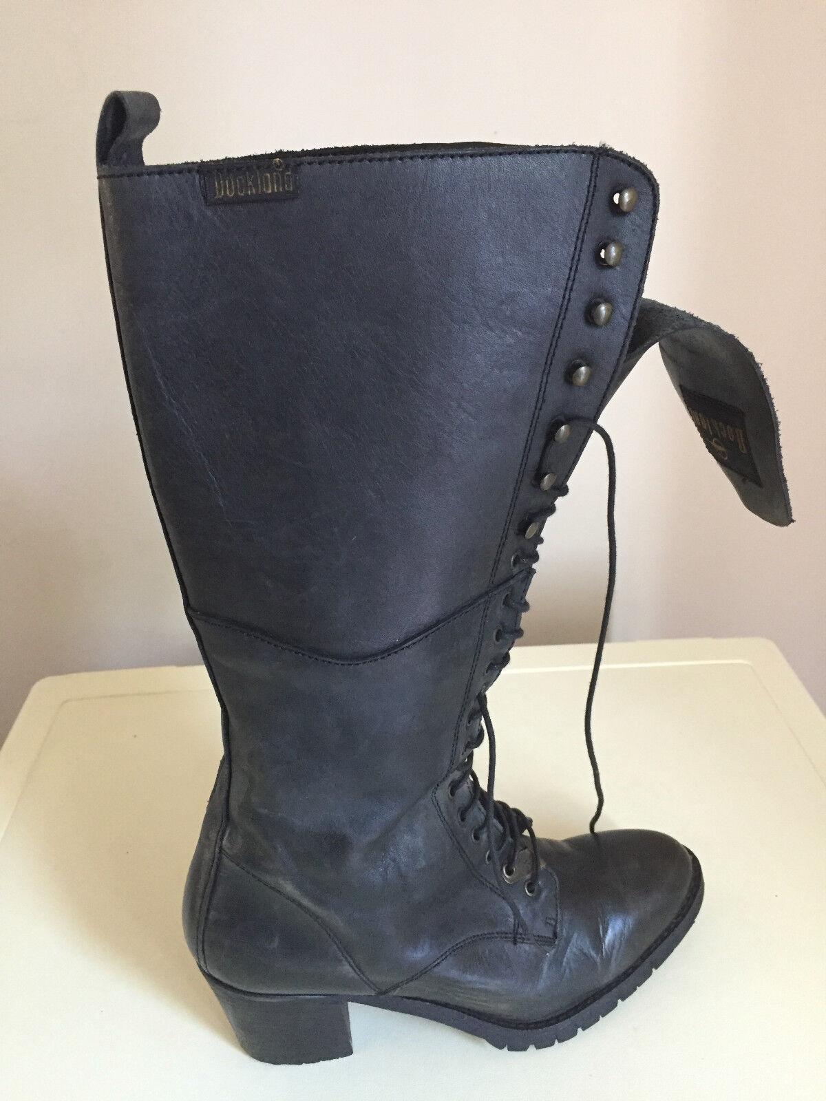 Damenschuhe  Leder KNEE HIGH BLACK DOCKLAND Stiefel  Größe UK 5