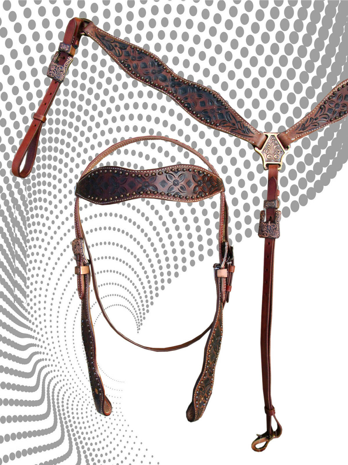 PRO WESTERN HEADSTALL BREAST COLLAR SET RACER SHOW TRAIL TOOLED LEATHER BRIDLE