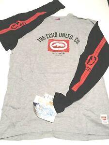 """ECKO UNLTD. L/S """"101"""" Mens sz M Medium Graphic T-Shirt Athletic Grey OOP NEW NWT"""