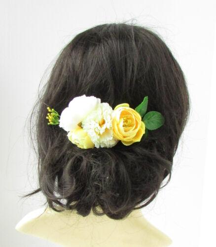 Lemon Pale Yellow Ivory Rose Carnation Flower Hair Comb Leaves Bridesmaid 2249