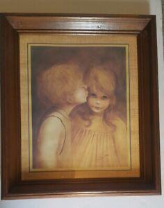 Vintage-Margaret-Kane-034-Big-Eyes-a-Little-Kiss-034-First-Kiss-Framed-Print