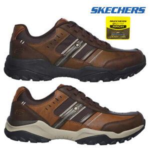 Skechers-Mens-HENRICK-Scarpe-da-ginnastica-delwood-Marrone-Pelle-Escursionismo-Relaxed-Fit-Casual