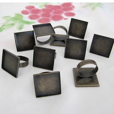 10 Antiqued Brass Adjustable Blank Ring Square Bezel Base For 22mm Cabochon
