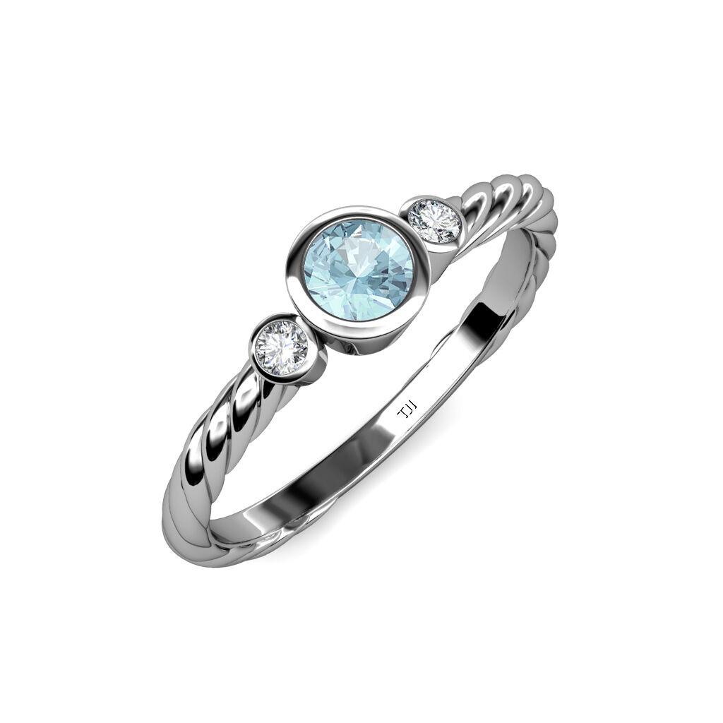 Aquamarine and Diamond Three Stone Rope Ring 0.70 ct tw in 14K gold JP  103705