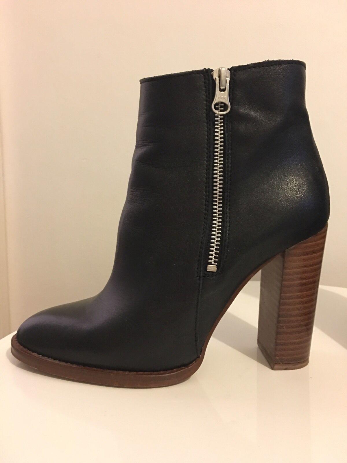 : HEEL WORN ONCE - OFFICE FRENZY BLACK LEATHER HIGH HEEL : ZIP Stiefel UK5 38 ef77c9