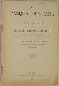 DOMENICO MARINANGELI LA PASQUA CRISTIANA LETTERA PASTORALE 1894 TRANI BARLETTA