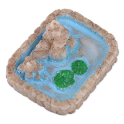 3x Resin Micro Landscape Ornaments Fairy Garden Lotus Pool Decor Dollhouse Craft
