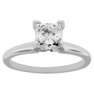 .50 ct Princess CUT solitaire diamond engagement Ring 14k WHITE GOLD D COLOR VS2