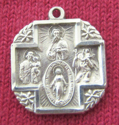 Vintage Catholic Religious Holy Medal - STERLING SCAPULAR - Miraculous